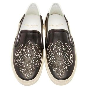 Saint Laurent Leather Studded Slip-on Sneakers